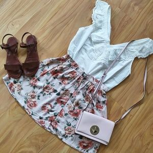 Forever 21 | Floral Button Front Mini Skirt